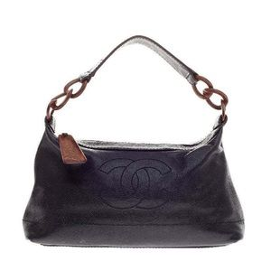 Chanel Black Caviar Leather Wood Style Chain Bag
